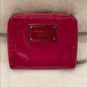Pink Patent Leather Michael Kors Compact Wallet